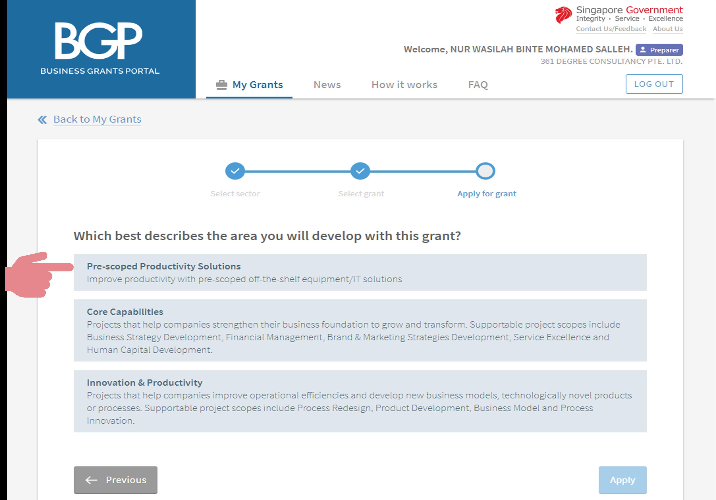 PSG application step 5